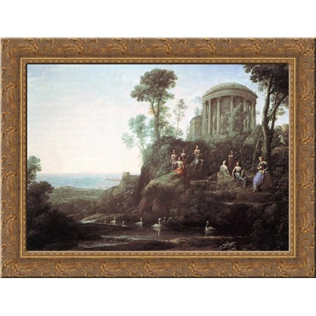 Apollo And The Muses On Mount Helion 24X19 Gold Ornate Wood Framed Canvas Art By Lorrain  Claude