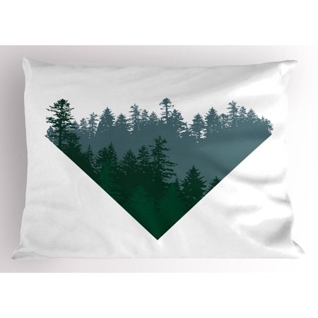 Forest Pillow Sham Triangle Frame with Coniferous Tree Silhouettes Modern Geometric, Decorative Standard Size Printed Pillowcase, 26 X 20 Inches, Slate Blue Dark Green White, by - Dark Blue Skate