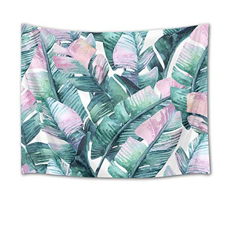 LB Banana Leaves Tapestry Watercolor Palm Leaf Wall Hanging Tropical Exotic Foliage in Jungle Tapestries for Bedroom Living Room Dorm Party Wall Decor60Wx40H inches - image 1 de 1