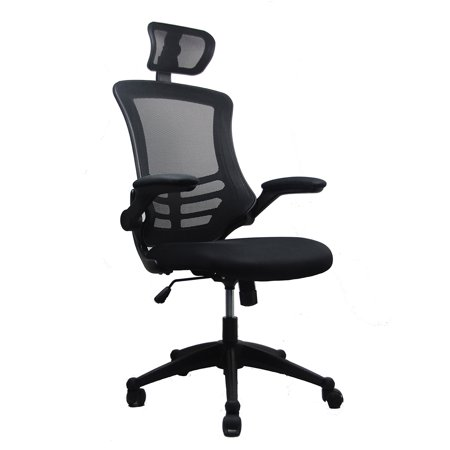 Techni Mobili Modern High-Back Mesh Executive Office Chair with Headrest and Flip-Up Arms, Black (Studio Rta Executive Collection)