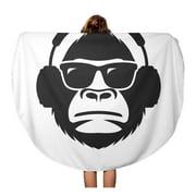 NUDECOR 60 inch Round Beach Towel Blanket Character Monkey in Sunglasses and Headphones Mascot Gorilla Rap Travel Circle Circular Towels Mat Tapestry Beach Throw