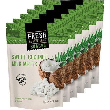 Coconut Milk Dishes - Fresh Essentials Snacks Sweet Coconut Milk Melts, 1.1 oz, (Pack of 6)
