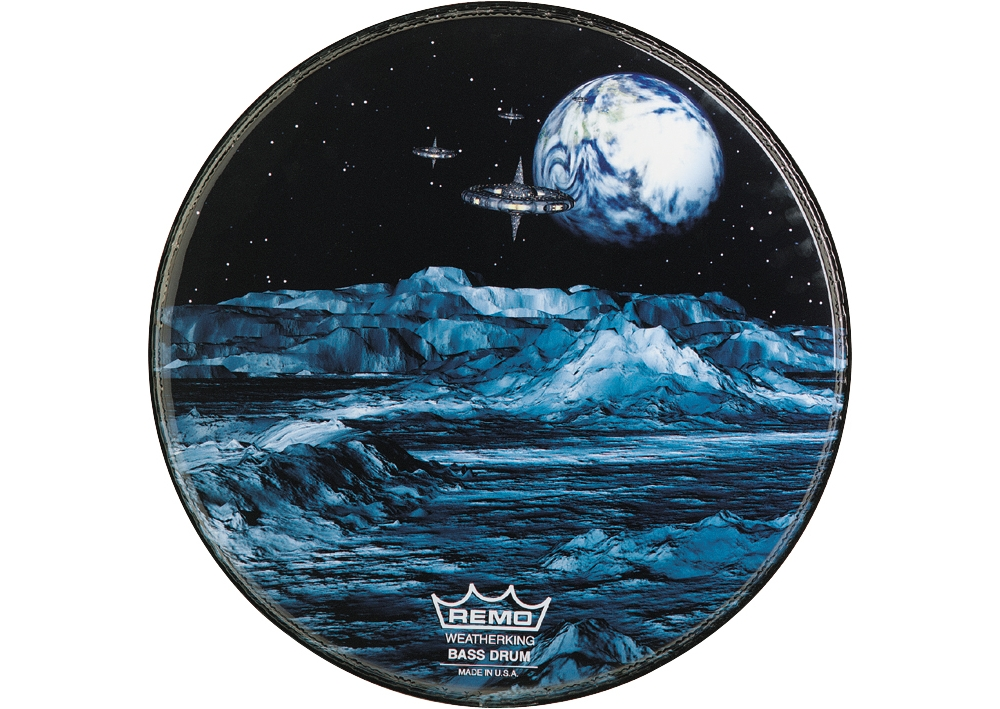 Custom Graphic Blue Moon Resonant Bass Drum Head by Remo