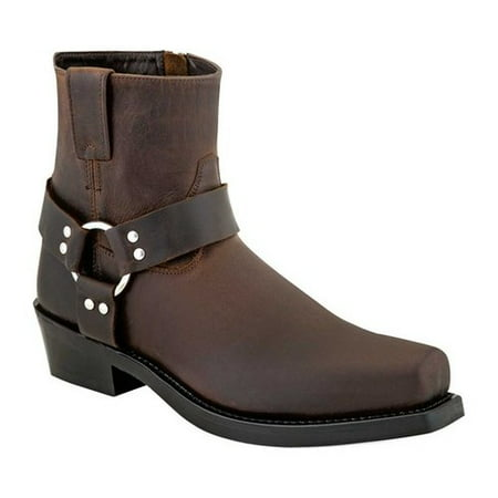 Old West Fashion Boots Mens Harness Ankle Rubber Goodyear Brown MB2059