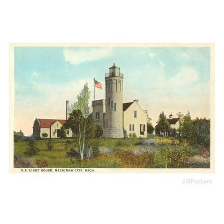 Lighthouse, Mackinaw City, Michigan Print Wall Art for $<!---->