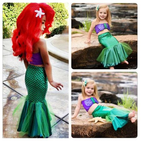 Baby Girl Ariel Little Mermaid Tail Bikinis Costume Swimwear Outfits Dress Set Size 2-3Year](Ariel Outfit)