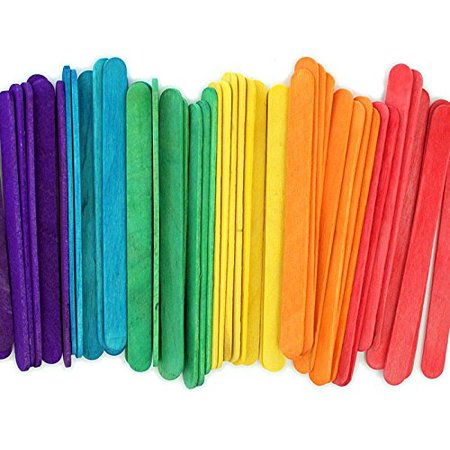 Kedudes Popsicle Wood Colored Craft Sticks 4½