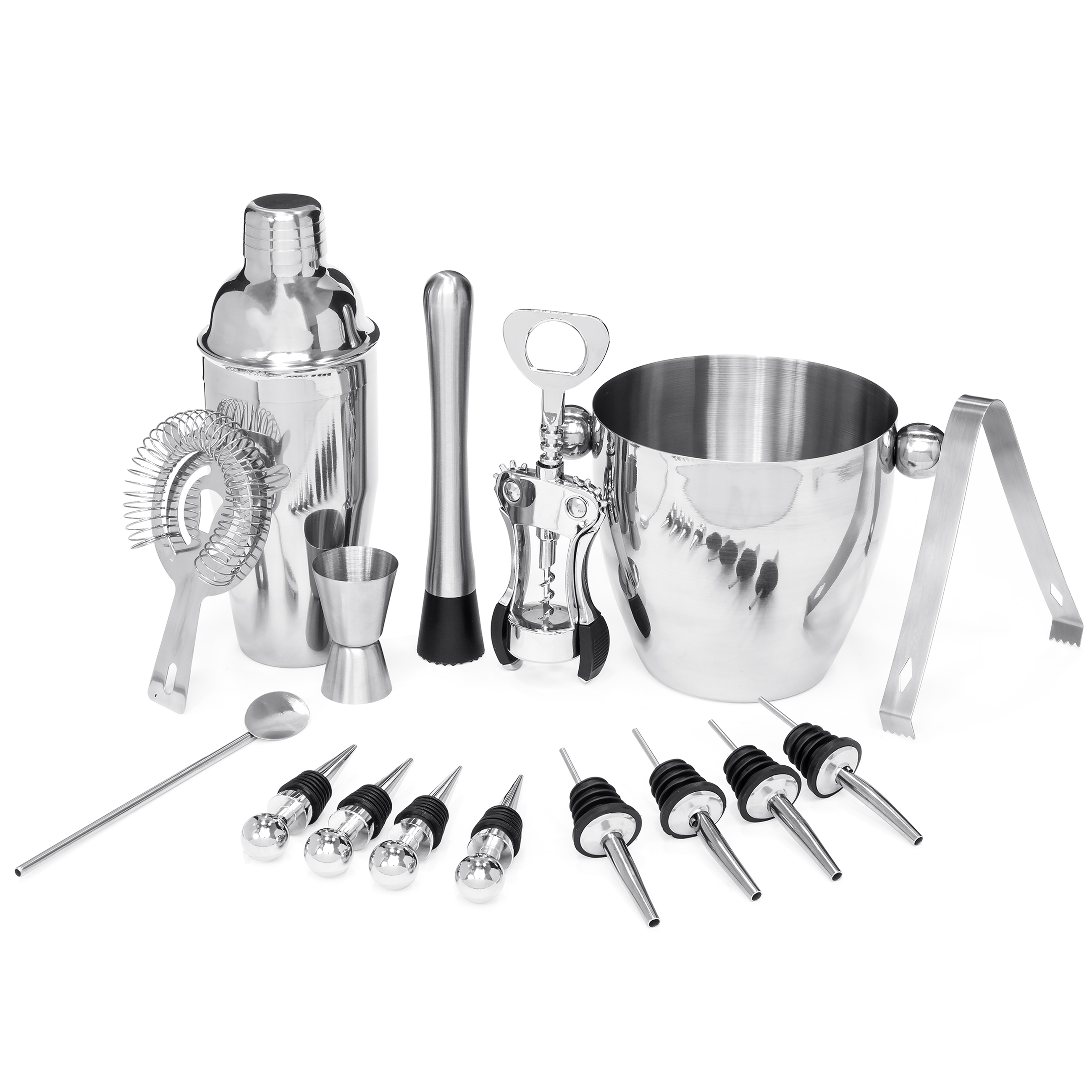 Best Choice Products 16-Piece Stainless Steel Bartender Mixology Set w/ Ice Bucket, Cocktail Shaker, Strainer, Corkscrew