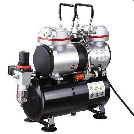 Pro 1/3 HP Twin-cylinder Airbrush Compressor 3-7 Bar 3.5L Air Tank For Decorating Body Art
