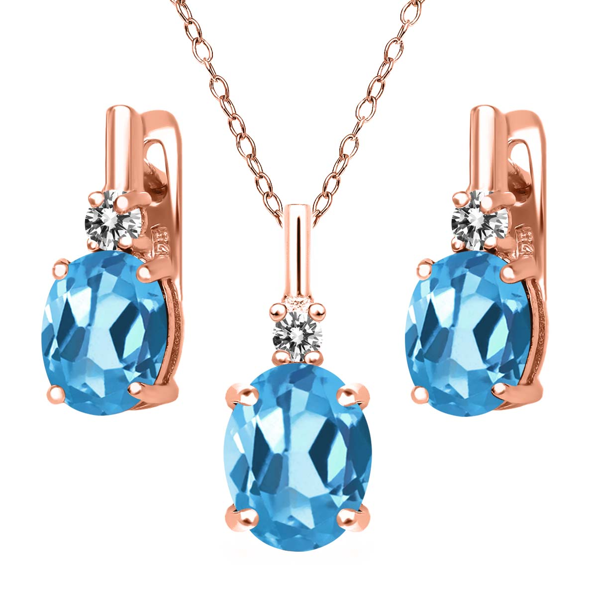 6.67 Ct Swiss Blue Topaz White Diamond 18K Rose Gold Plated Silver Pendant Earrings Set by