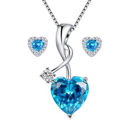 Devuggo 925 Sterling Silver Heart Pendant Necklace Simulated Blue Topaz Stud Earrings Jewelry Set for Women