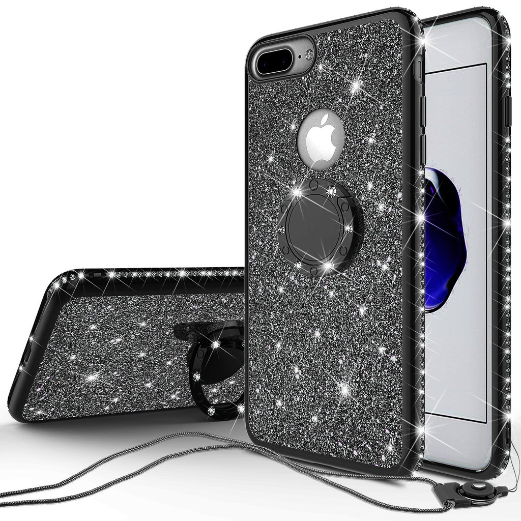 iPhone 8 Case, iPhone 7 Case, Glitter Cute Phone Case Girls with Kickstand, Bling Diamond Rhinestone Bumper with Ring Stand Thin Soft Protective Pink ...