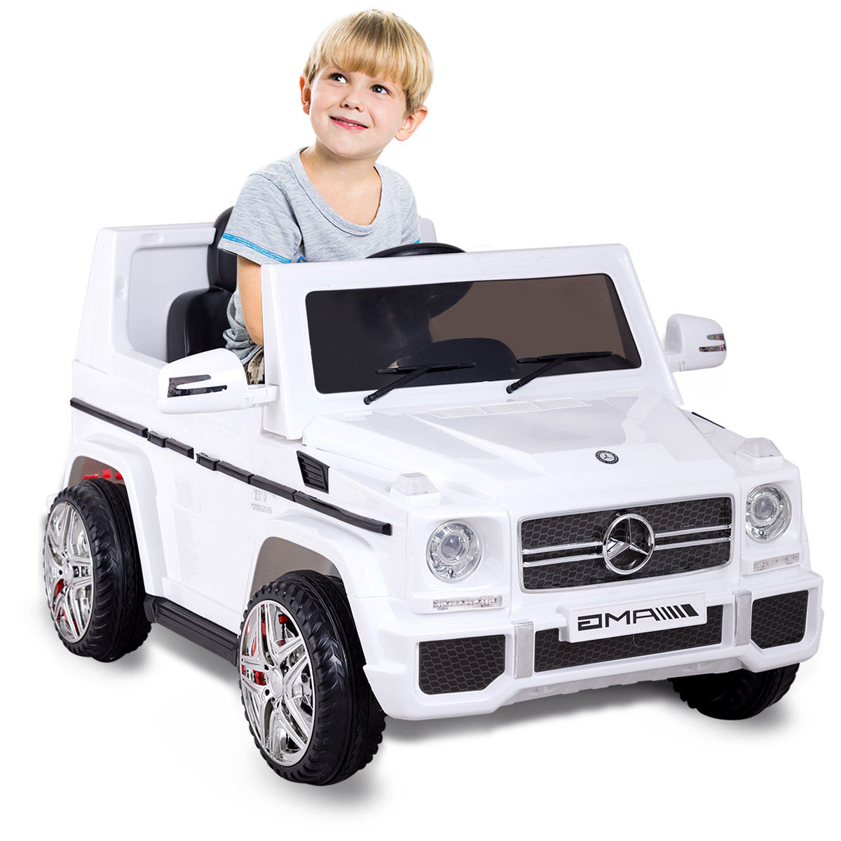 Costway Mercedes Benz G65 Licensed 12V Electric Kids Ride On Car RC Remote Control White