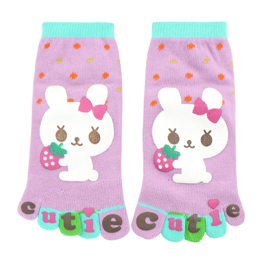 Girl's Ankle Length Rabbit Letters Print Stretchy Toe Socks Purple