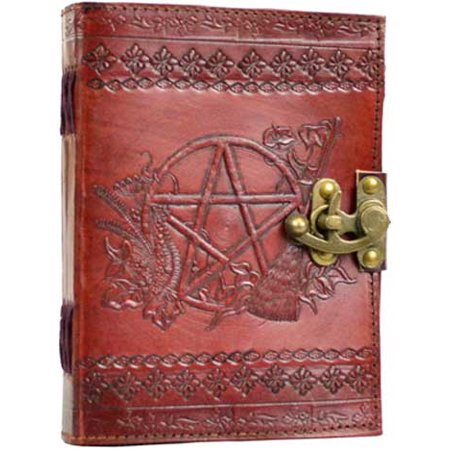 Diary Writing Creative Dream Journal Hand Tooled Leather Unlined Wiccan Pentacle Symbols 5 x 7