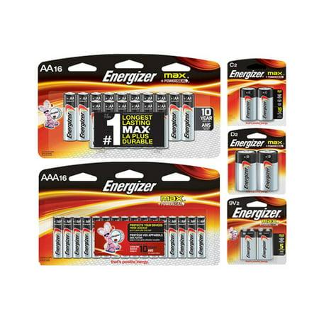16 AA + 16 AAA + 2 C + 2 D + 2 9 Volt Energizer MAX Alkaline Battery Combo (On Cards) - image 1 de 1