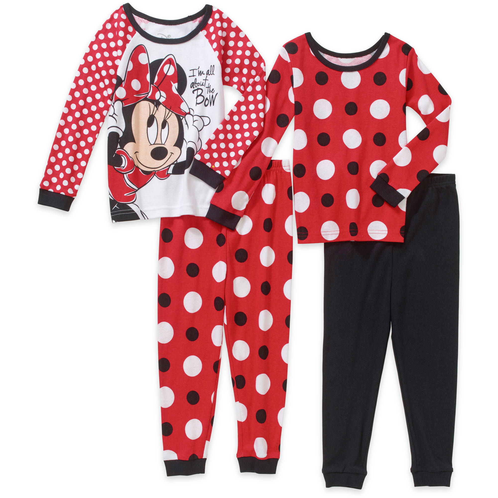 Minnie Mouse Toddler Girl Cotton Tight Fit Pajamas 4pc Set