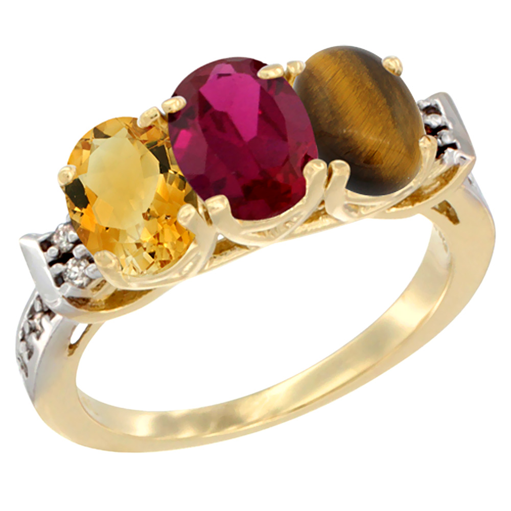 14K Yellow Gold Natural Citrine, Enhanced Ruby & Natural Tiger Eye Ring 3-Stone 7x5 mm Oval Diamond Accent, sizes 5 10 by WorldJewels