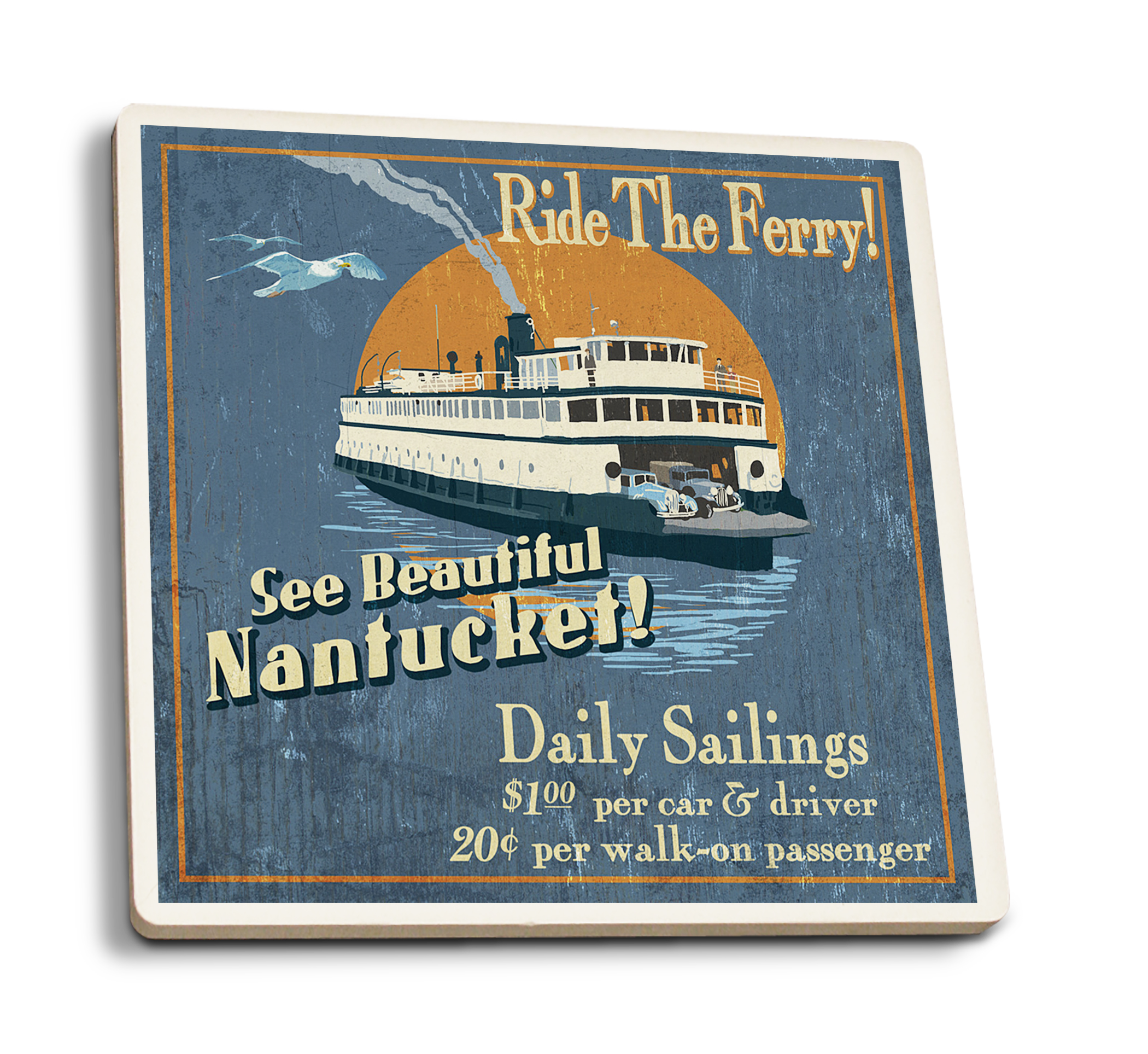 Nantucket, Massachusetts - Ferry Ride Vintage Sign - Lantern Press Artwork (Set of 4 Ceramic Coasters - Cork-backed, Absorbent)