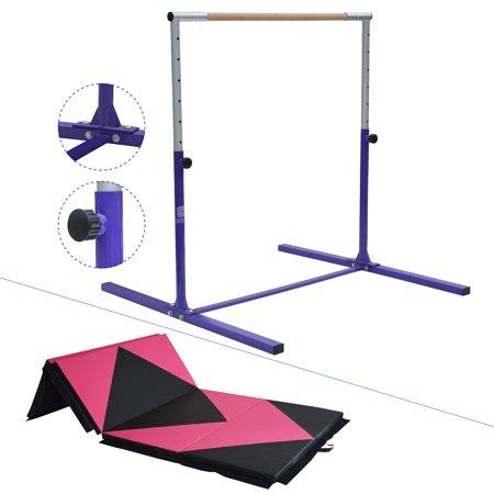 Junior PRO Gymnastics Kip Bar w/ Thick Folding Mat  8' / 10' | Adjustable (3'- 5') Training Horizontal Bar Beech Wood - - Mat Halloween Trainer 2