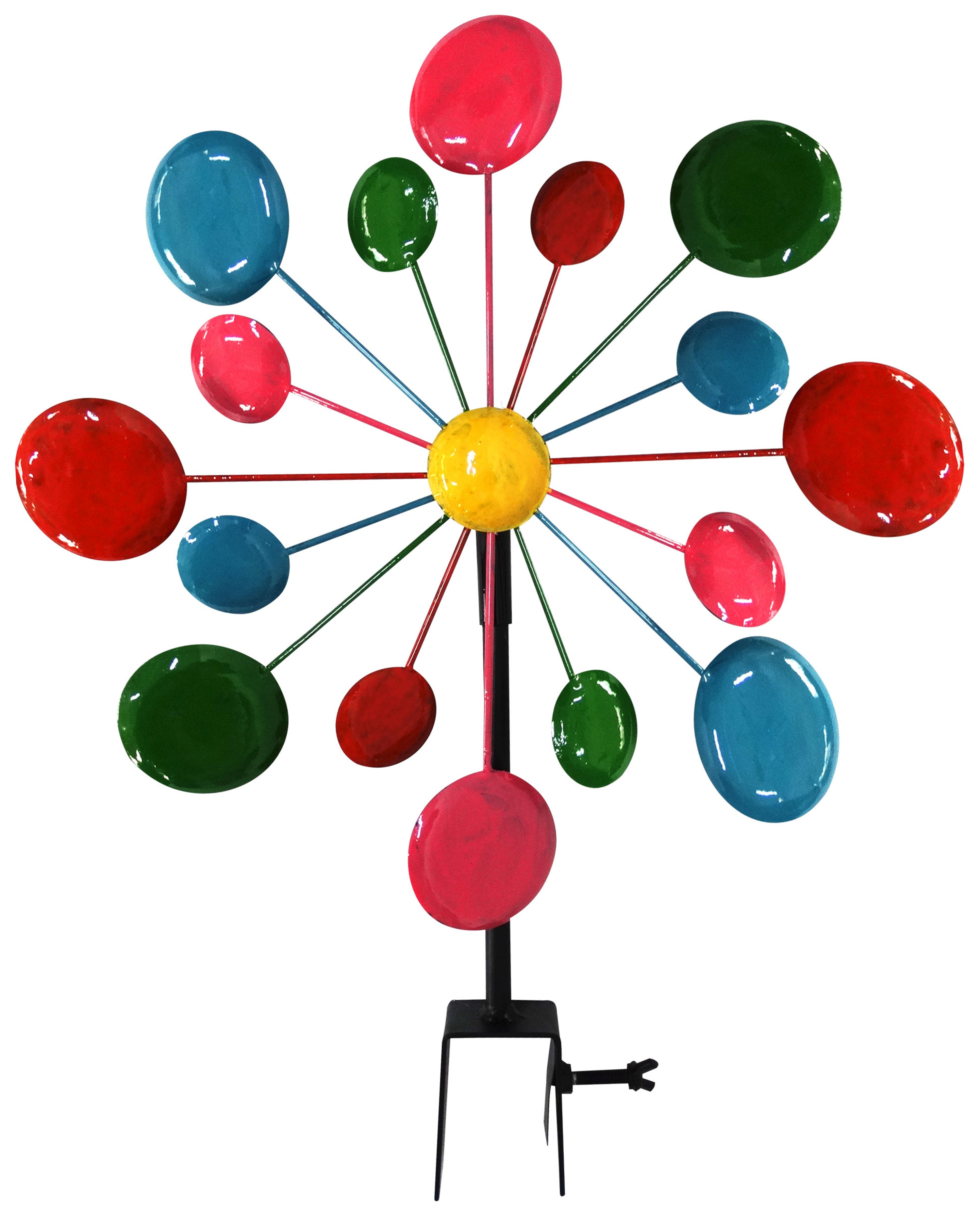 Multi-Color Metal Circles Windmill With Stake & Fence Topper by Benzara