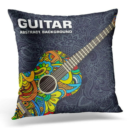 USART Red Music Classic Guitar Concept Design White Band Pillow Case Pillow Cover 20x20 inch