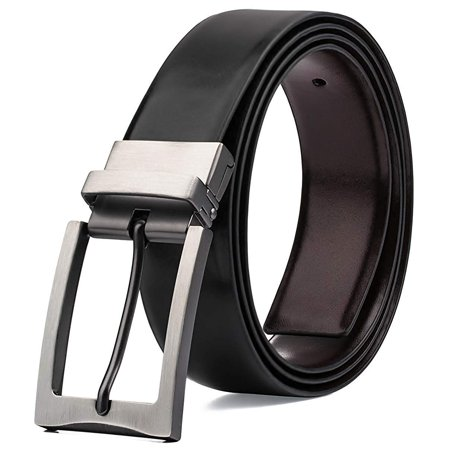 Men's Dress Belt Genuine Leather Reversible Rotated Buckle with 1.25