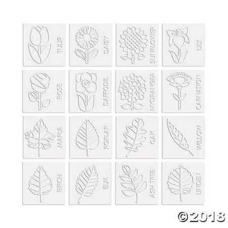Mini Flowers & Leaves Rubbing Plate - Leaf Rubbings