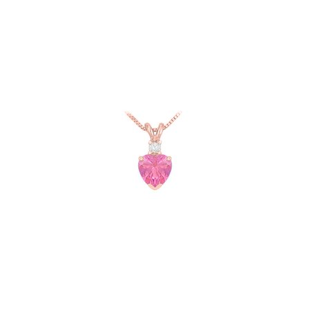 Cubic Zirconia and Created Pink Sapphire Solitaire Pendant 14K Rose Gold 1.00 CT TGW - image 5 of 5