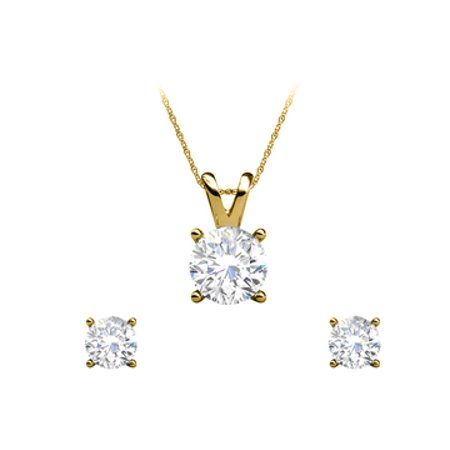 Natural Diamond Earrings Pendant Set Jewelry For Her