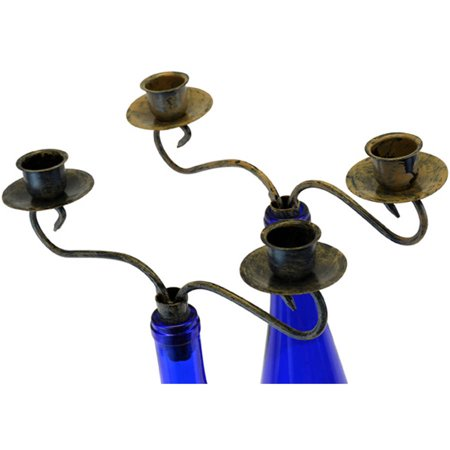 Southern Homewares Candelabra 2 Candle Wine Bottle Topper, Set of 2