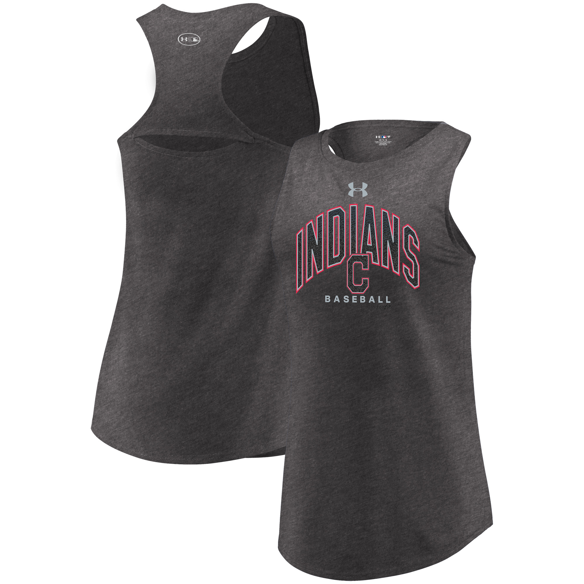 Cleveland Indians Under Armour Women's Passion Reflective Arch Tri-Blend Tank Top - Heathered Charcoal