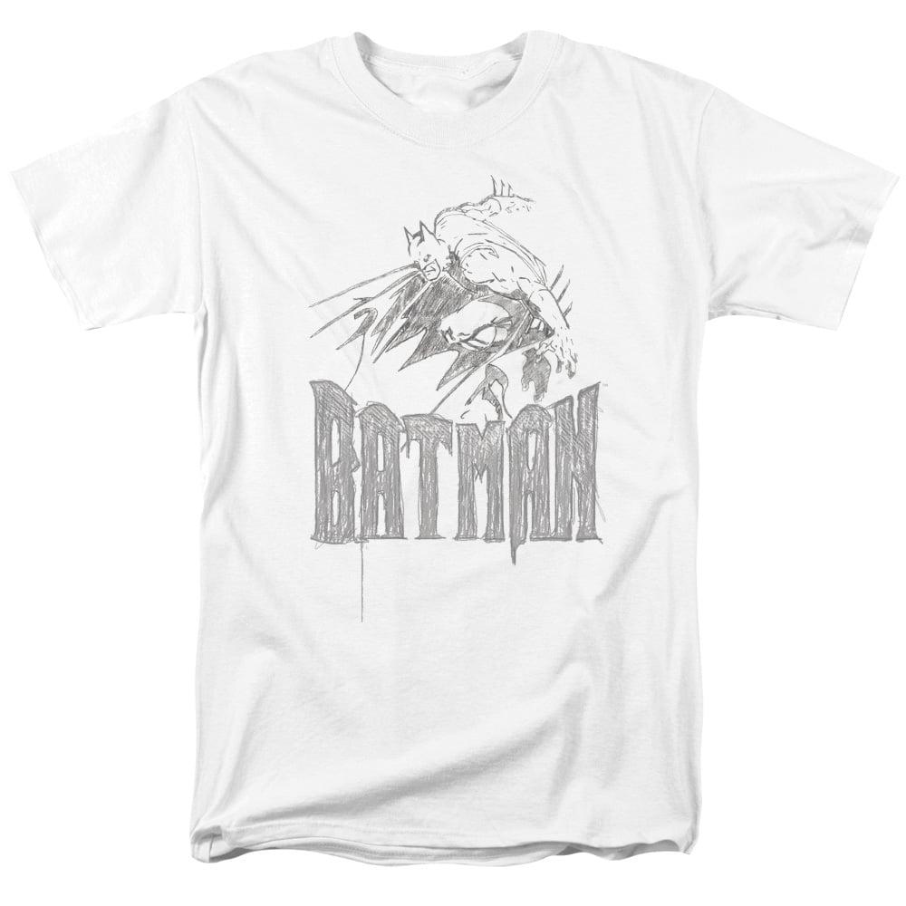 BATMAN/KNIGHT SKETCH - S/S ADULT 18/1 - WHITE - 2X