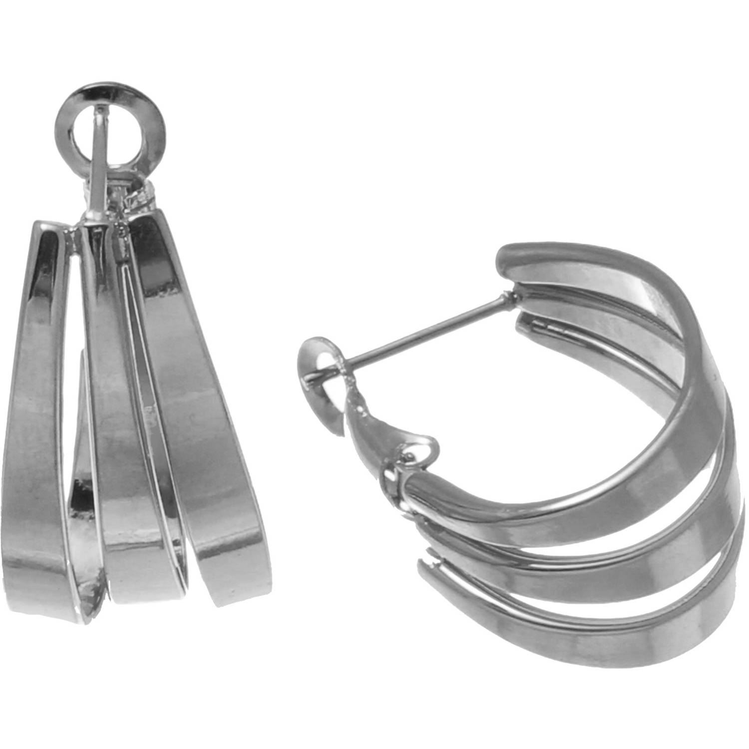 Angelique Silver Silver-Tone Stainless Steel Polished Triple-Strand Oval Hoop Earrings