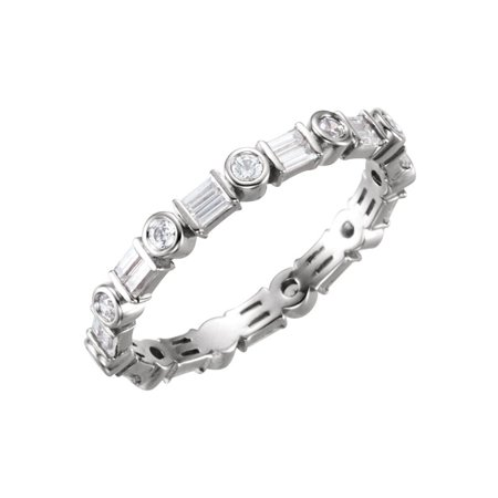 Platinum 5/8 Ct Diamond Baguette Accented Anniversary Wedding Eternity Band - Size 7