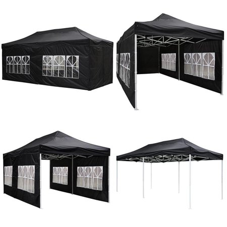 GHP 10'x20' Waterproof 420D PVC Oxford Fabric Black Pop-up Canopy Tent w 4 Sidewalls - Tmnt Fabric