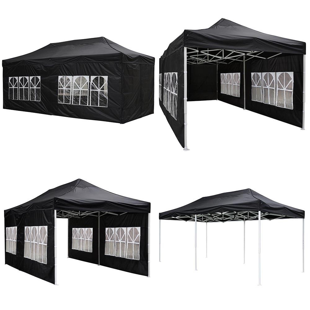 GHP 10u0027x20u0027 Waterproof 420D PVC Oxford Fabric Black Pop-up Canopy Tent  sc 1 st  Walmart & GHP 10u0027x20u0027 Waterproof 420D PVC Oxford Fabric Black Pop-up Canopy ...