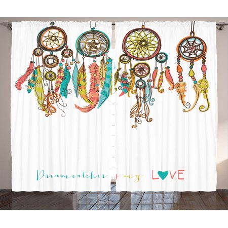 Native american decor curtains 2 panels set set of colorful ethnic dreamcatchers native for Native american living room decor