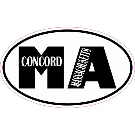 5in x 3in Oval MA Concord Massachusetts Sticker Car Truck Vehicle Bumper Decal ()