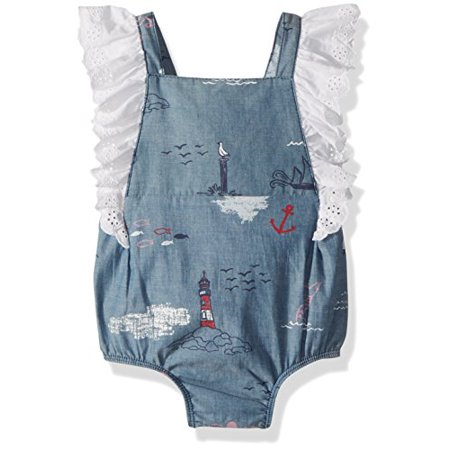 Mud Pie Baby Girls Nautical Ruffle Sleeve One Piece Bubble Playwear, Blue 12-18 Months (Ruffled Pie)
