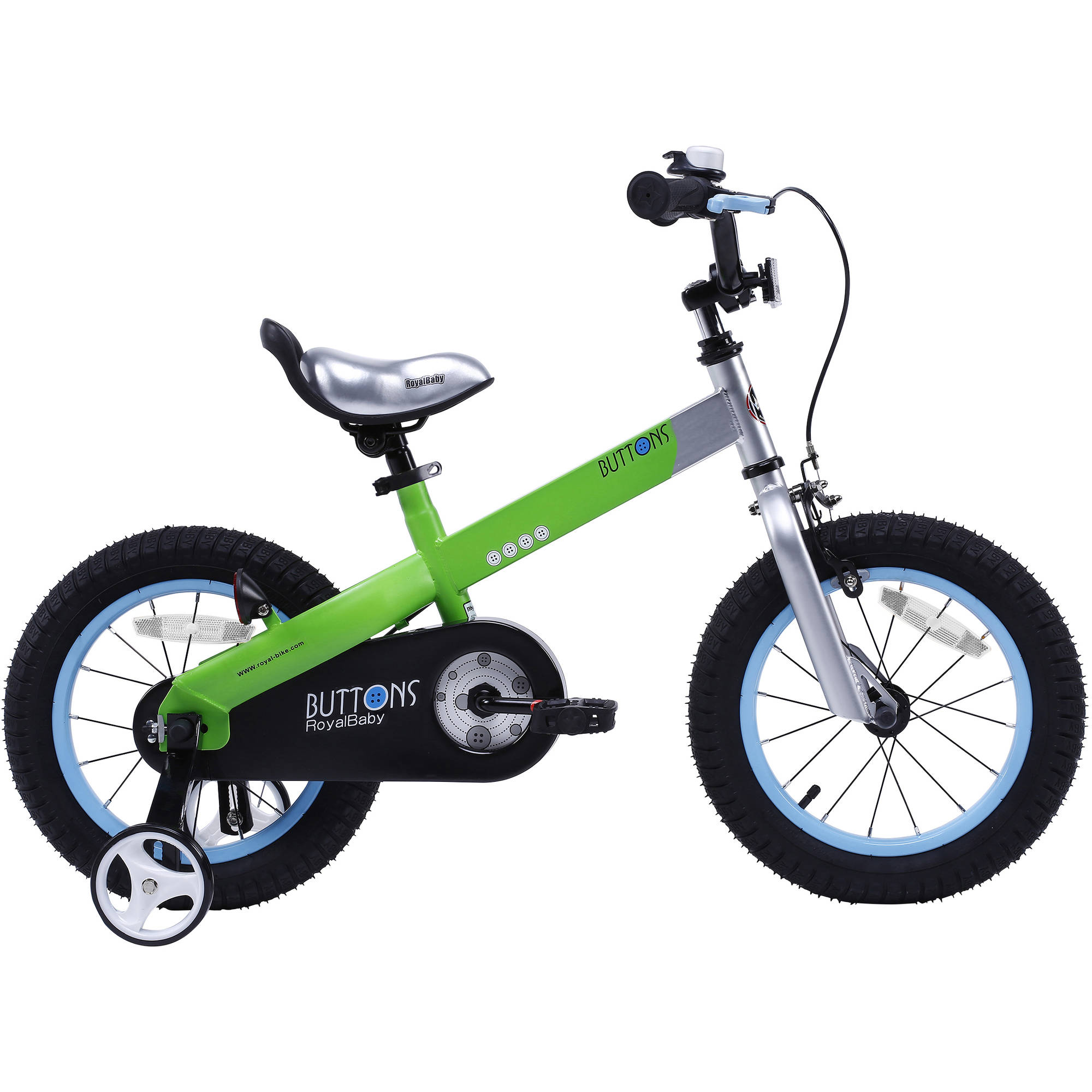 Overstock RoyalBaby Matte Buttons Kid's bike, unisex children's bike with training wheels, various trendy features, gifts for fashionable boys & girls, 12 inch wheels, Matte Green