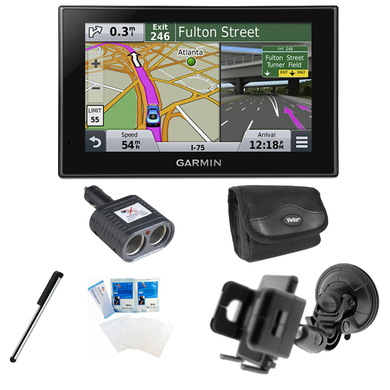 Garmin Nuvi 2539LMT 010-01187-02 North America 5 inch Lifetime Maps and Traffic USA Canada Mexico Maps GPS Essentials Bundle- Includes Dual Socket Cigarette Adapter, Spare Car Windshield Mount Holder