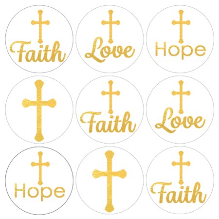 Baptism Decorations Party Stickers, 216ct - Christening Baptism Party Favors, First Communion Party Supplies - 216 Count - Baptism Decoration Ideas