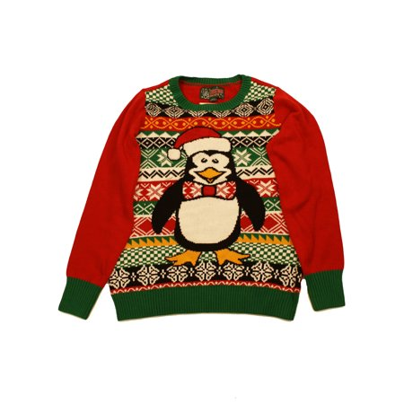 Penguin Jersey Sweater - Ugly Christmas Sweater Women's Penguin Santa Hat LED Light Up Sweatshirt