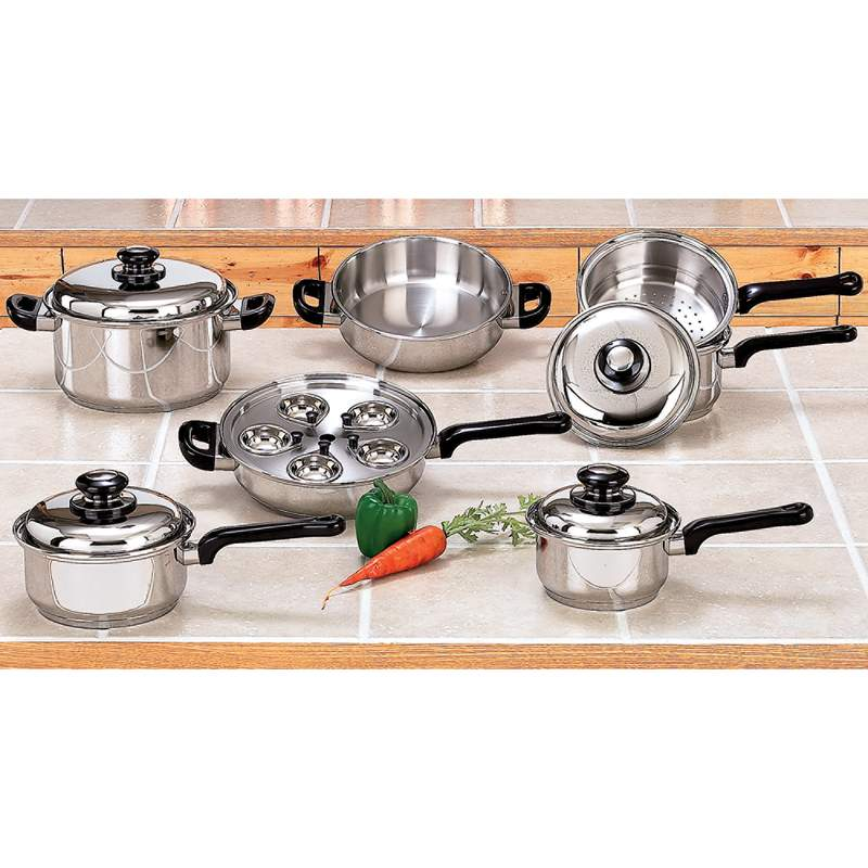Maxam 17 Piece Stainless Steel Cookware Set