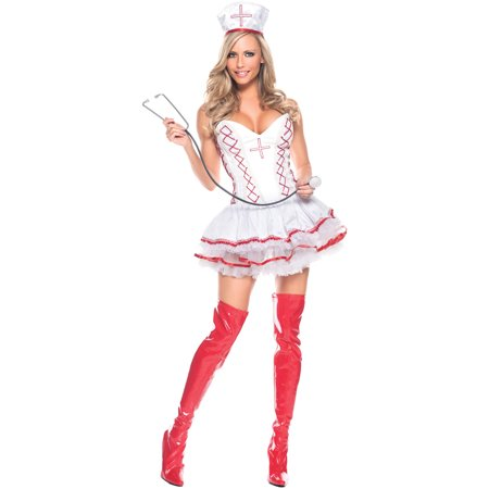 Home Care Nurse Women's Adult Halloween Costume - Halloween Makeup Zombie Nurse