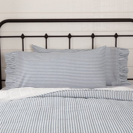 Denim Blue Farmhouse Bedding Miller Farm Ticking Stripe Cotton Striped King Pillow Case Set of 2