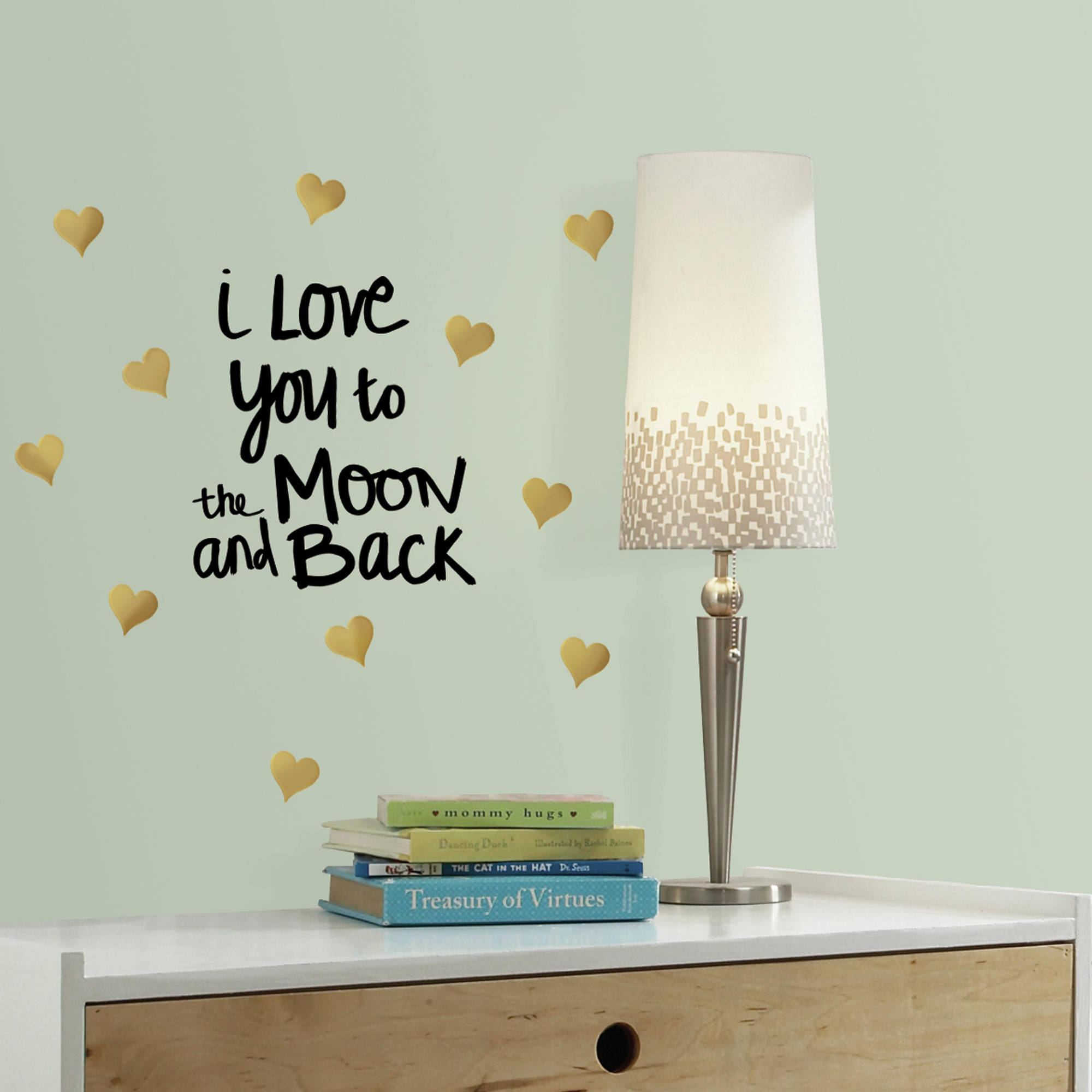Roommates Love You To The Moon Quote Peel and Stick Wall Decals