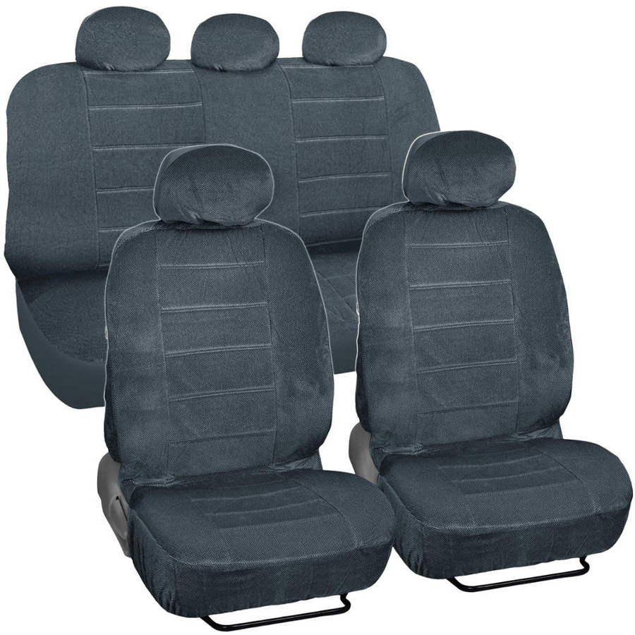 BDK Regal Dotted Cloth Car Seat Covers, 9pc, Front and Rear Full Set, Low Back