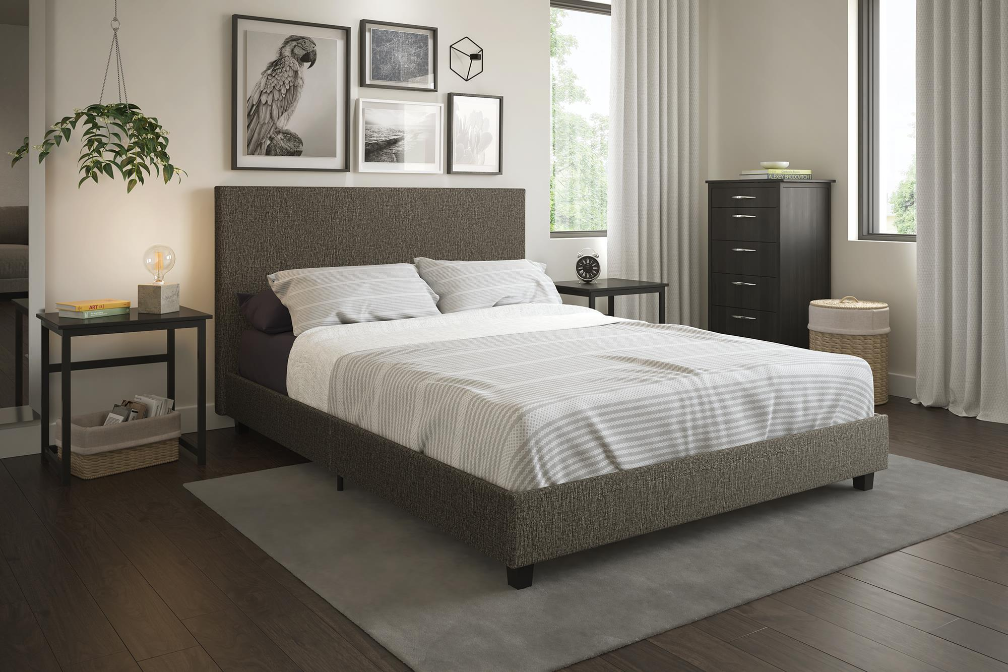 Mainstays Upholstered Platform Bed, Grey Linen, Multiple Sizes